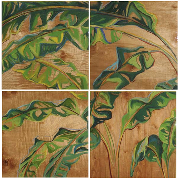 Banana Leaves Polyptych - Pastel on Wood Panels 48x48
