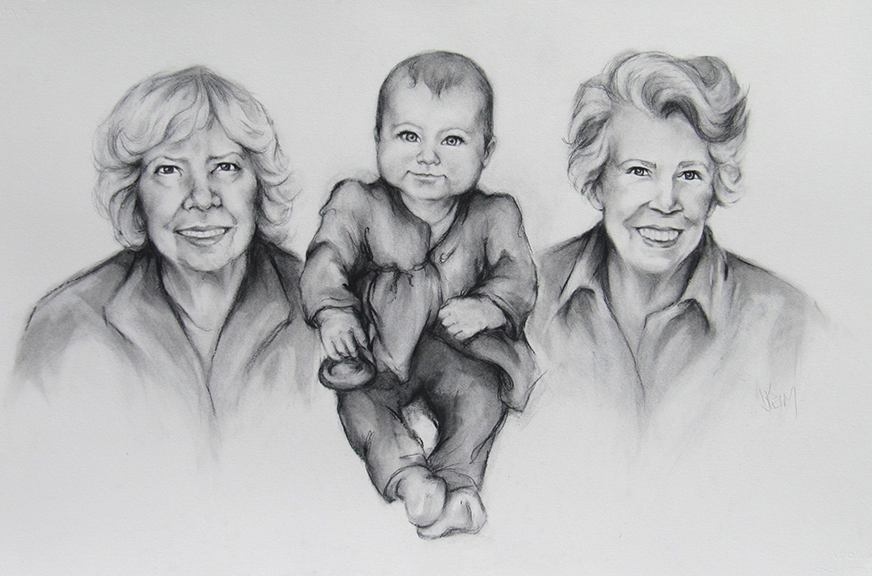 Cia with Grandmothers - Charcoal 24x36