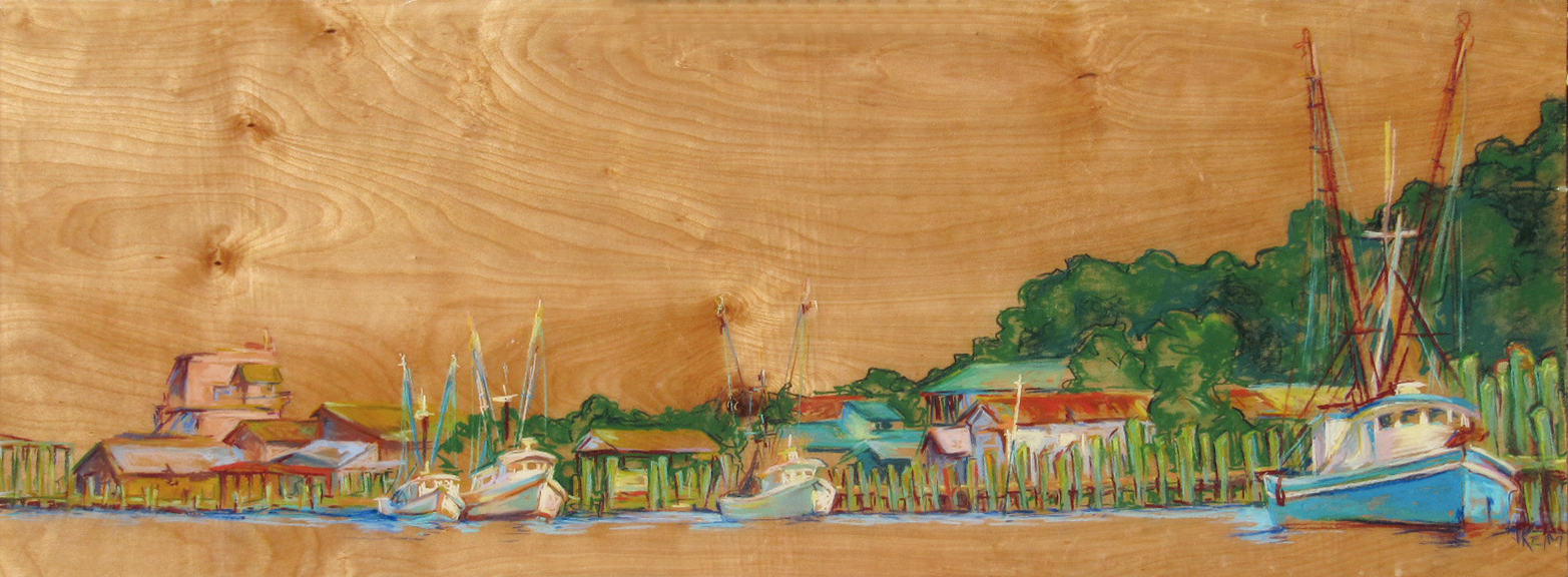 Crescent Bluff Pastel on Wood Panel 48x12