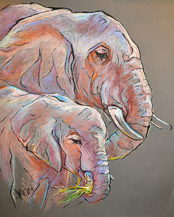 Elephant-Training - Pastel & India Ink 16x20