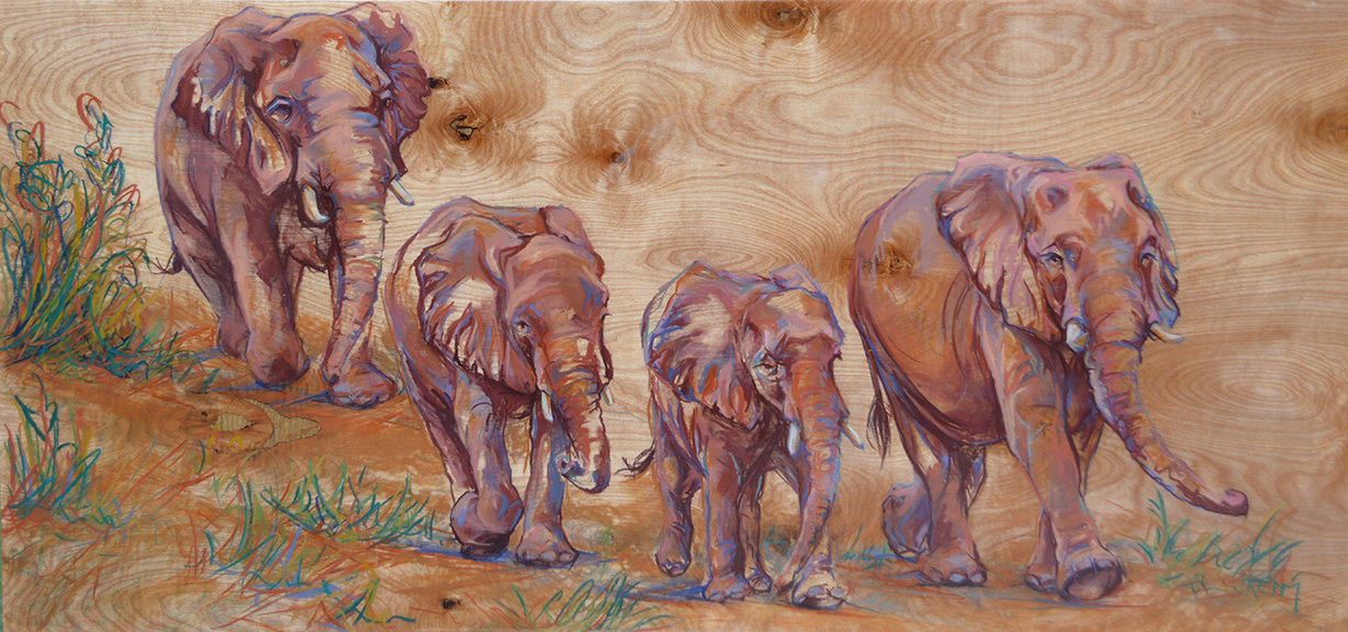 Elephant Travel - Pastel on Wood Panel 48x24