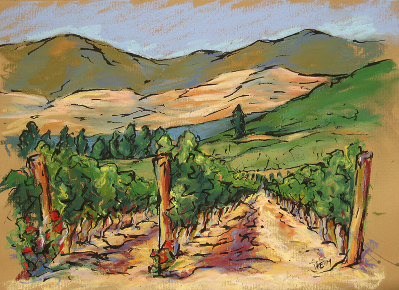 Erracuriz Vineyard - Pastel & India Ink