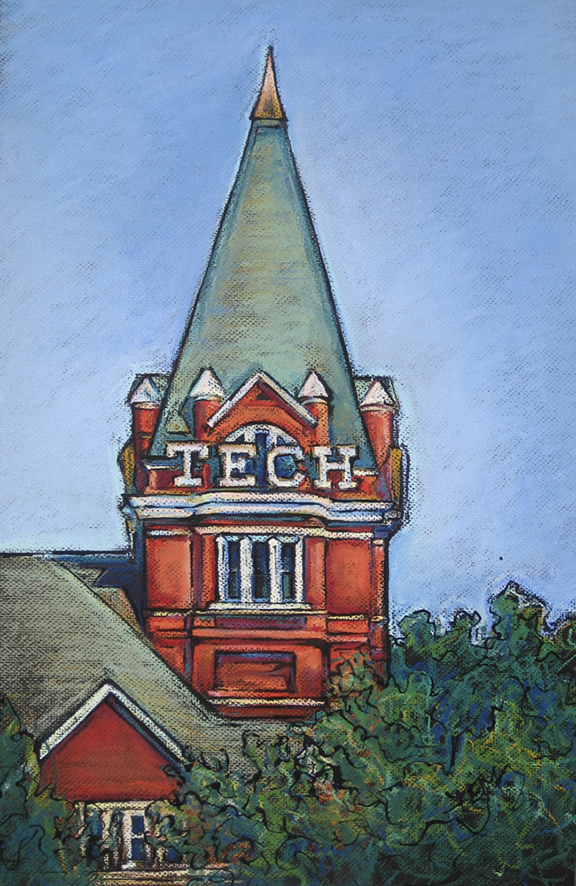 GA Tech Tower - Pastel 16x24