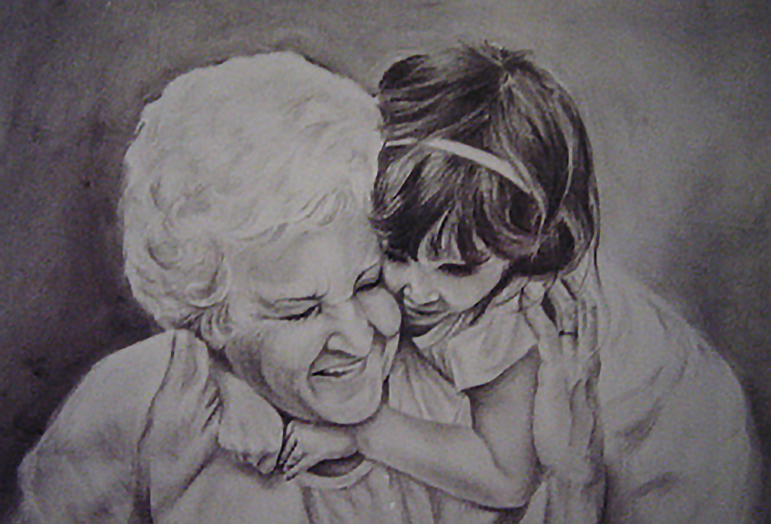 Grandmother's Love - Charcoal 24x18