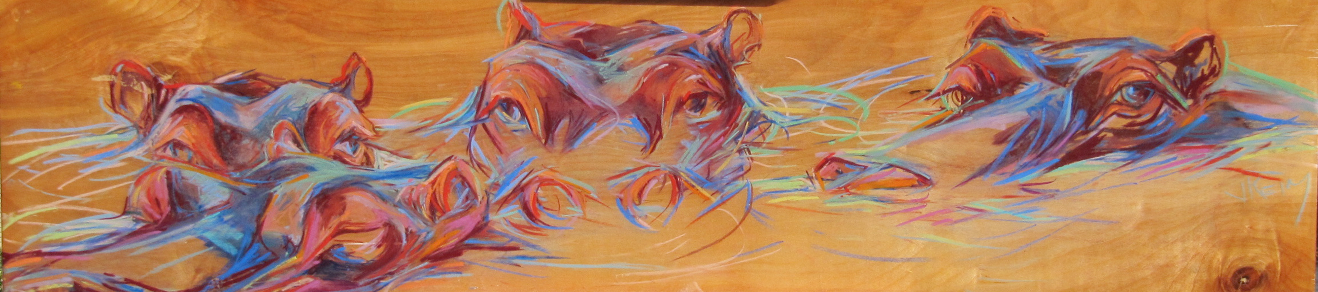 Hippo Hide - Pastel on Wood Panel 48x12