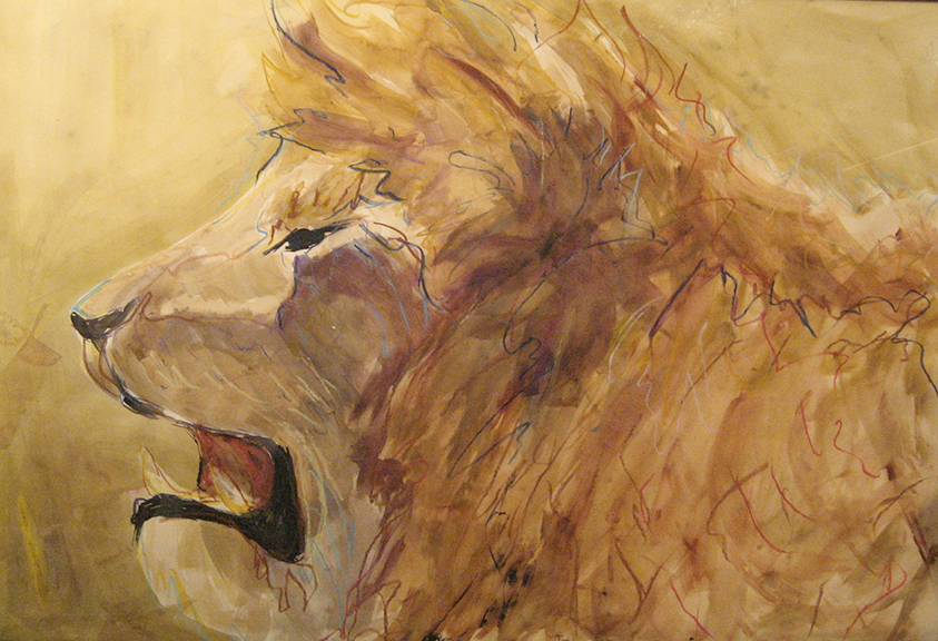 Lion - Mixed Media 30x44