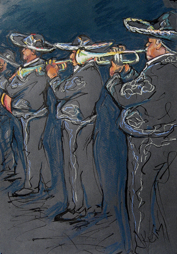 Mariachi Band - Pastel & India Ink 12x18