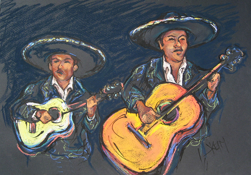 Mariachi Guitar Duo - Pastel & India Ink 18x12