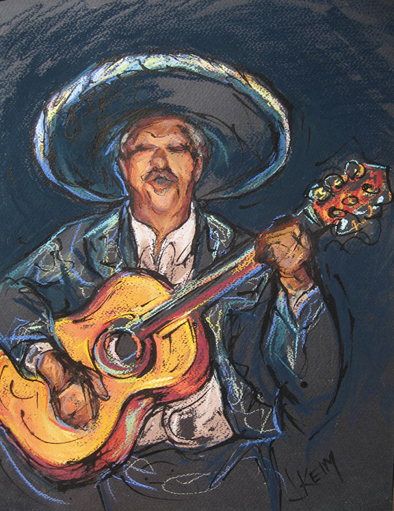 Mariachi Guitar Solo - Pastel & India Ink 12x18
