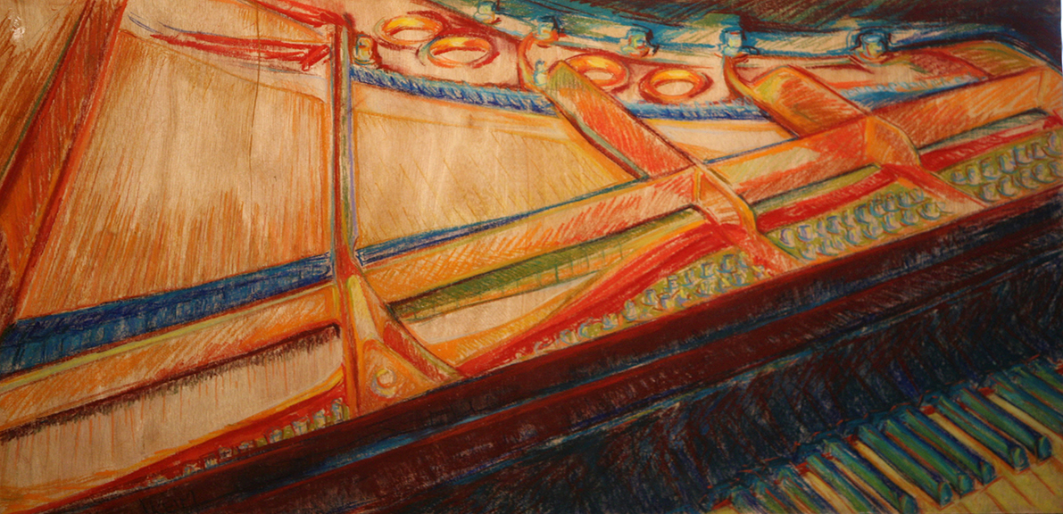 Piano Concerto - Pastel on Wood Panel 48x24
