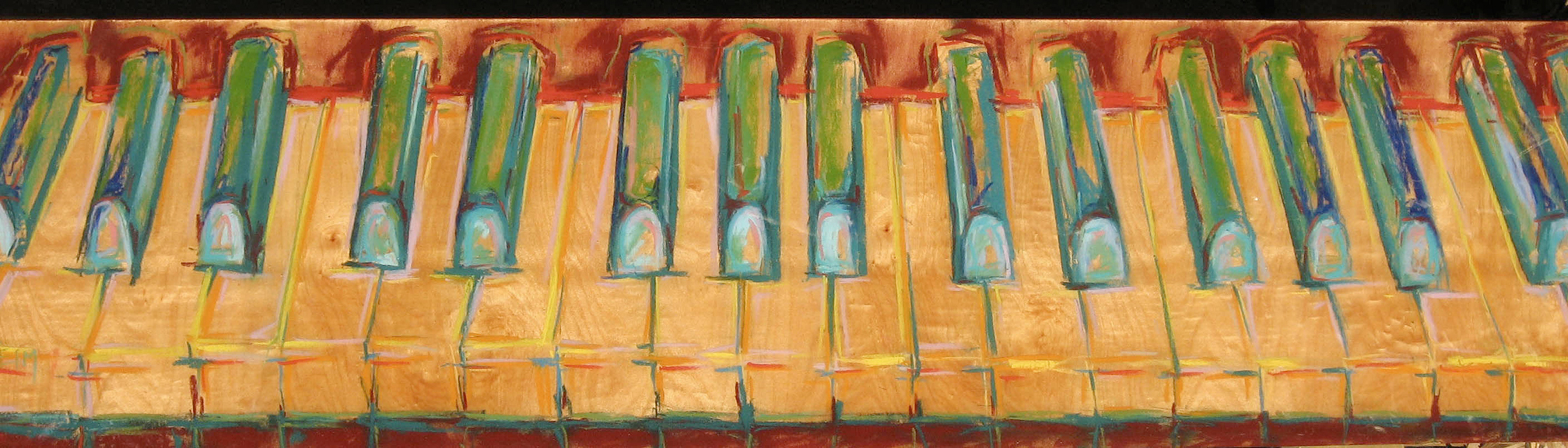 Piano Keys - Pastel on Wood Panel 48x12