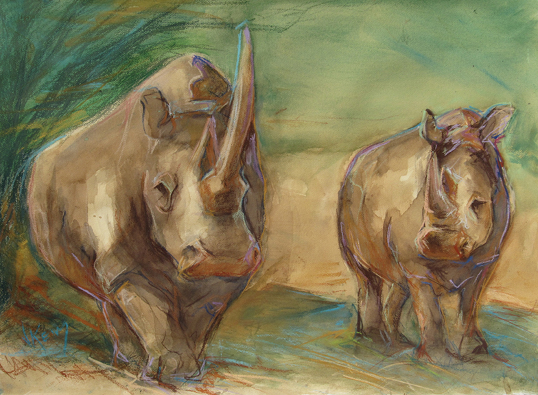 Rhino Mom & Baby - Mixed Media 30x22
