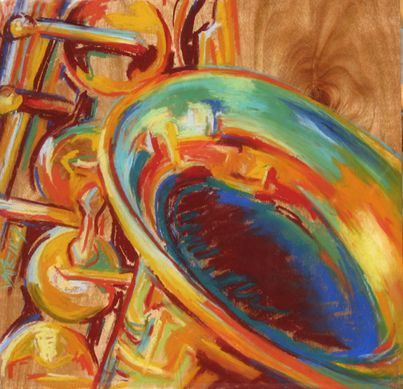 Saxophone - Pastel on Wood Panel 12x12