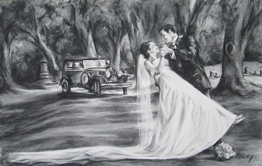 Simmons Wedding Portrait Charcoal 36x24