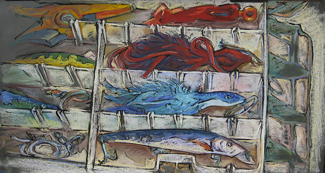 Tackle Box - Pastel & India Ink 28x15