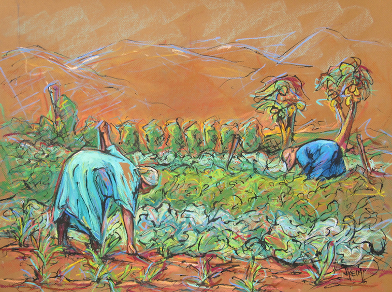 Winter Crop - Pastel & India Ink 25x19