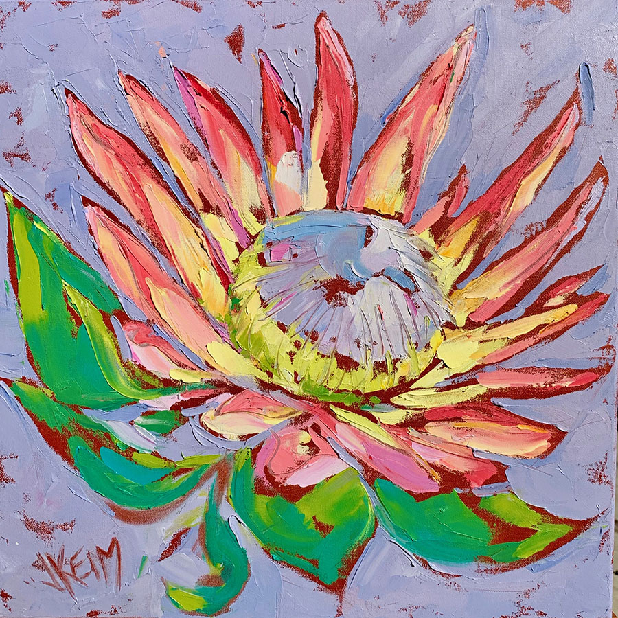 King Protea II, 20x20, Oil on Canvas